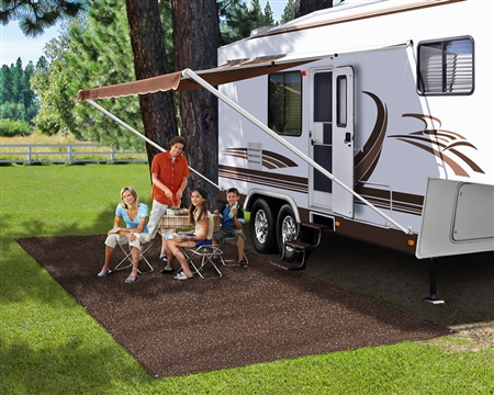 Prest-O-Fit 2-1080 RV Patio Rug - Espresso - 6' x 9'