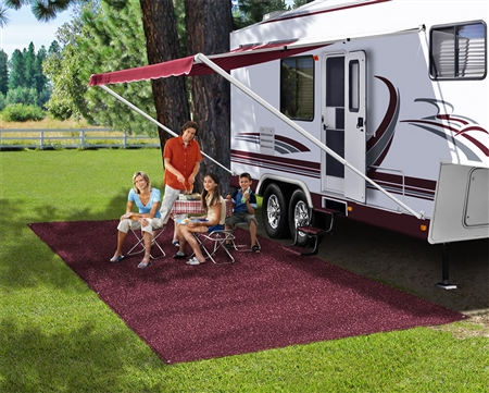 Prest-o-Fit 2-1084 RV Patio Rug - Burgundy Wine - 6' x 9'