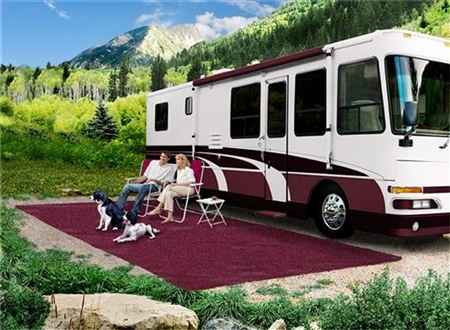 Prest-o-Fit 2-1154 Patio Rug, Burgundy Wine - 6' x 15'