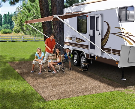 Prest-O-Fit 2-0081 RV Patio Rug - Brown - 6' x 9'
