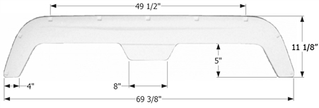 Icon 01612 Fleetwood Tandem Axle Fender Skirt FS755 - Polar White