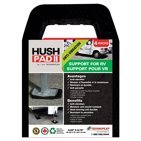 "Technoflex HP0608 Hush Pad Anti-Vibration Stabilizing Jack Support Pad - 4 Pack- 6-1/4"" x 8-3/4"""