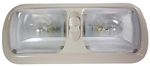 Arcon 18015 Double Euro-Style Incandescent Light With Switch - Clear Lens - Colonial White Base