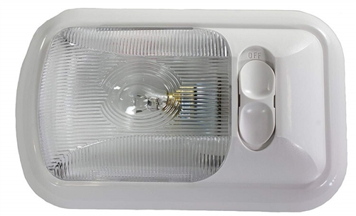 Arcon 18122 Euro-Style Incandescent Light With Switch - Clear Lens - White Base