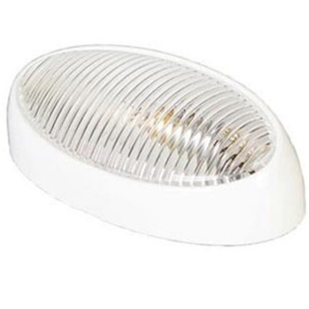 Arcon 51251 Universal Porch/Utility Oval Light - White - Clear Lens - Without Switch