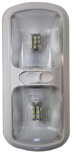 Arcon 20670 LED Double Euro-Style Light With Switch - Clear Lens - Bright White