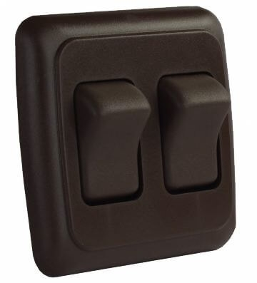 JR Products 12145 Multi-Purpose Single Rocker Double Switch - Brown