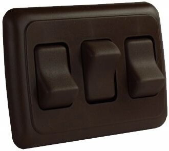 JR Products 12155 Multi-Purpose Single Rocker Triple Switch - Brown
