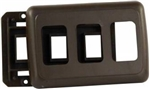 JR Products 12215 RV Triple Switch Base & Face Plate - Brown
