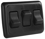 JR Products 12245 Multi-Purpose Single Rocker Triple Switch - Black
