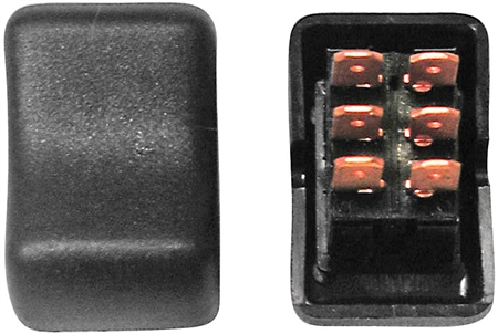 Diamond Group 2E-41 Contour On/On Rocker Switch DPDT - Black