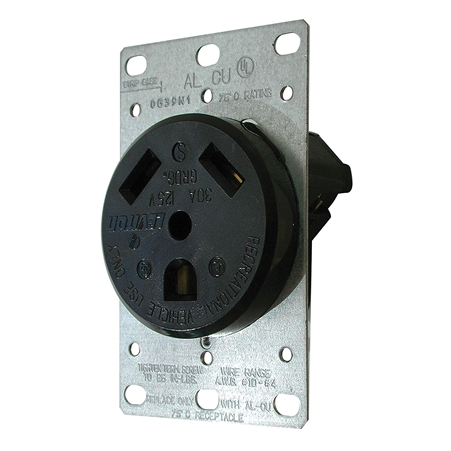 Diamond Group 3830 Front RV 30 Amp Receptacle - Black