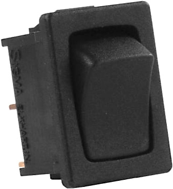 JR Products 12815 Multi-Purpose Single Mini Rocker Momentary-On/Off Switch - Black