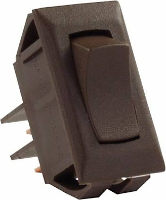 JR Products 12715 Multi-Purpose Single Rocker Momentary-On/Off Switch - Brown