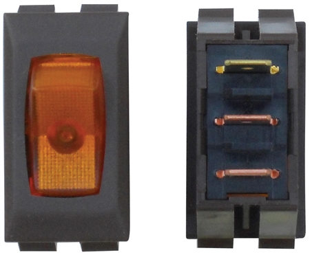 Diamond Group A1-33C SPST Illuminated On/Off Rocker Switch - Amber/Brown