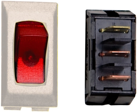 Diamond Group A1-82C SPST Illuminated On/Off Rocker Switch - Red/Ivory
