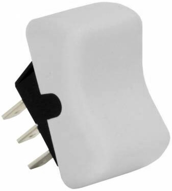 JR Products 13035 Multi-Purpose Single Rocker On/On Switch - White