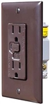 RV Designer S805 AC GFCI Dual Outlet With Brown Cover Plate