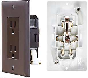 RV Designer S815 AC Self Contained Dual Outlet With Brown Cover Plate