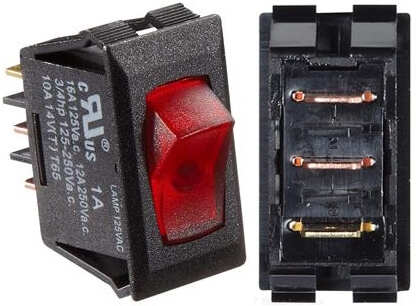RV Designer S245 125 VAC DC Rocker Switch - Black W/Red