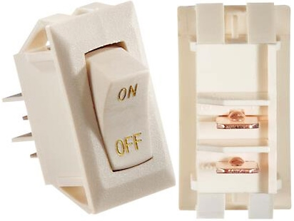 RV Designer S279 DC 10 Amp Rocker Switch - Ivory With Gold Text