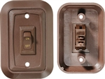 RV Designer S651 DC SPST Single Rocker Switch - Brown
