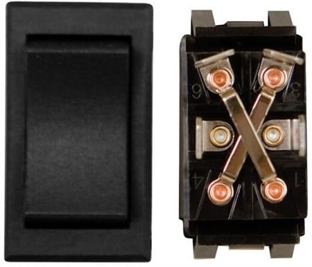 Diamond Group 12954X 12V Heavy Duty Rocker Switch SPDT Mom-On/Off/Mom-On - Black