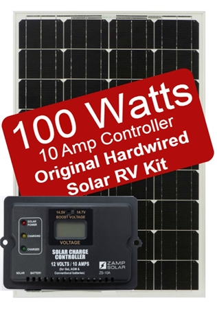 Zamp Solar 100 Watt 10 Amp Original Hardwired Solar RV Kit