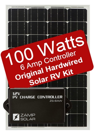 Zamp Solar 100 Watt 6 Amp Original Hardwired Solar RV Kit