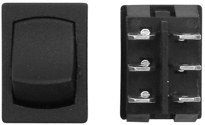 Diamond Group H2-28C 12V Mini Off/On DPST Switch - Black
