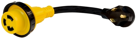 Valterra Mighty Cord 30 Amp Male to Locking 30 Amp Female Detachable RV Adapter Cord - Yellow