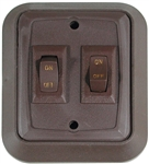 Valterra DGZ721VP SPST Double On/Off Wall Plate Switch - Brown