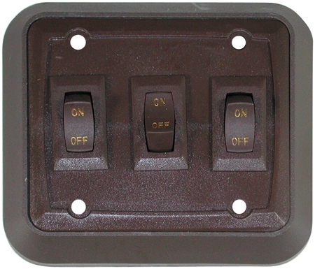 Diamond Group DGZ731VP_SUS SPST Triple On/Off Wall Plate Switch - Brown