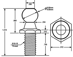 JR Products BS-1005 10mm Ball Stud