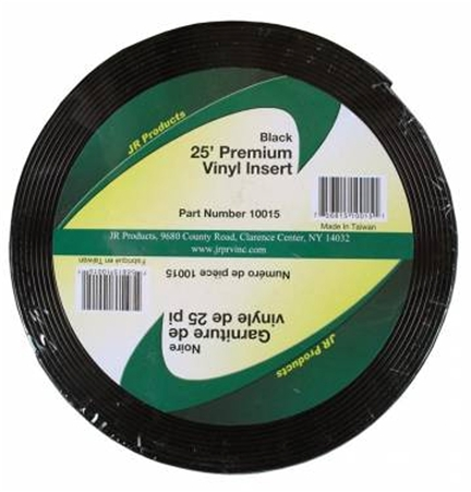 JR Products 10015 Premium Vinyl Insert - Black 25' x 1""
