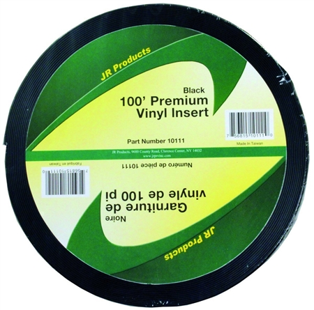 JR Products 10111 Premium Vinyl Insert - Black 100' x 1""