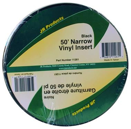 JR Products 11261 Narrow Vinyl Insert - Black 50' x 3/4""
