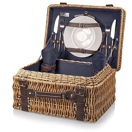 Picnic Time Champion Picnic Basket - Navy Lining and Napkins; Dark Brown Leatherette Straps