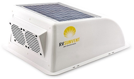 Stoett STO-RVB100WH RV Sunvent Solar Powered RV Vent Cover