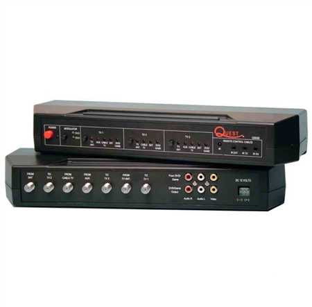 Quest Technology QS53E 5 Input 3 Output RV Video Control Center with Electronic Switching