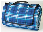Carefree Blue Plaid Picnic Blanket