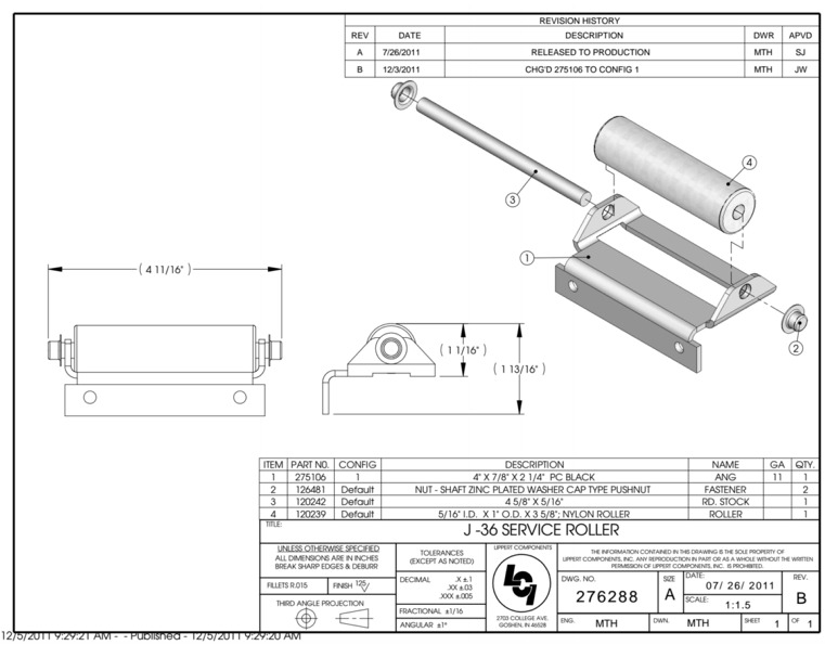 Lippert 276288 J-36 Slide-Out Roller Assembly