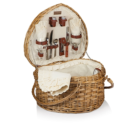 Picnic Time Heart Picnic Basket - Antique White