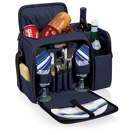 Picnic Time Malibu Picnic Tote - Navy with Blue and Grey Stripe