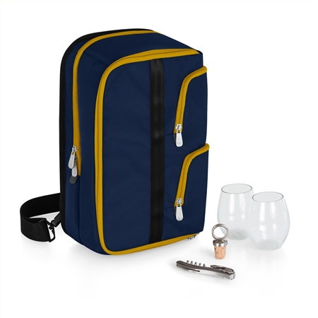 Picnic Time Tiburon Wine Tote - Navy with Yellow Zippers