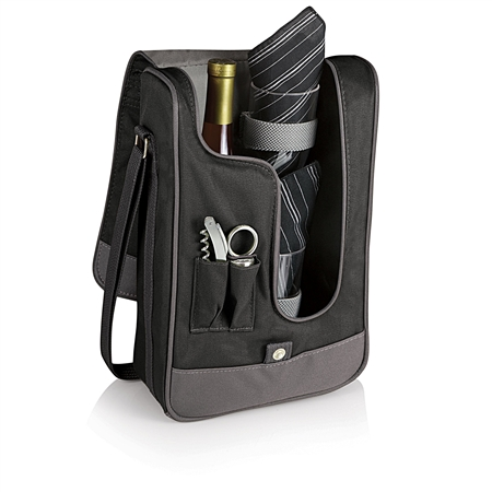 Picnic Time Barossa Wine Tote - Black with Grey