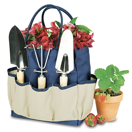 Picnic Time Large Garden Tote - Navy with Beige