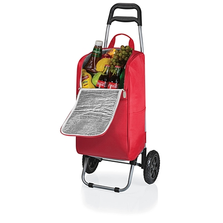 Picnic Time Cart Cooler with Trolley - Red
