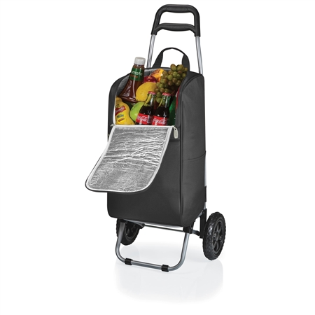 Picnic Time Cart Cooler with Trolley - Black