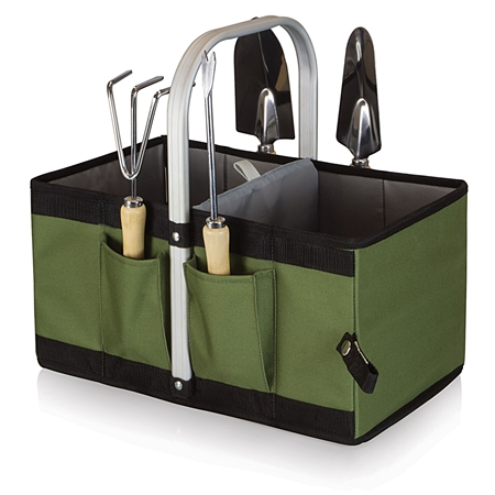 Picnic Time Garden Caddy Collapsible Basket with Tools - Olive Green and Black